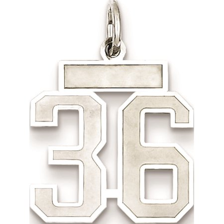 925 Sterling Silver Small Satin Number 36 - image 2 of 2