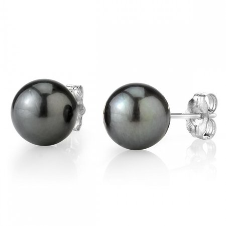 14K Gold 8-9mm AAA Quality Round Tahitian South Sea Cultured Pearl Stud Earrings for