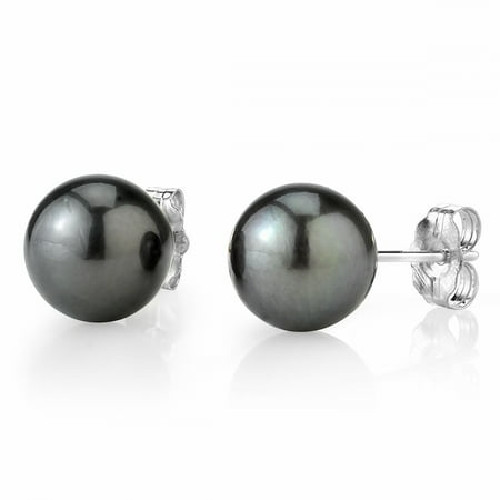 14K Gold 8-9mm AAA Quality Round Tahitian South Sea Cultured Pearl Stud Earrings for Women