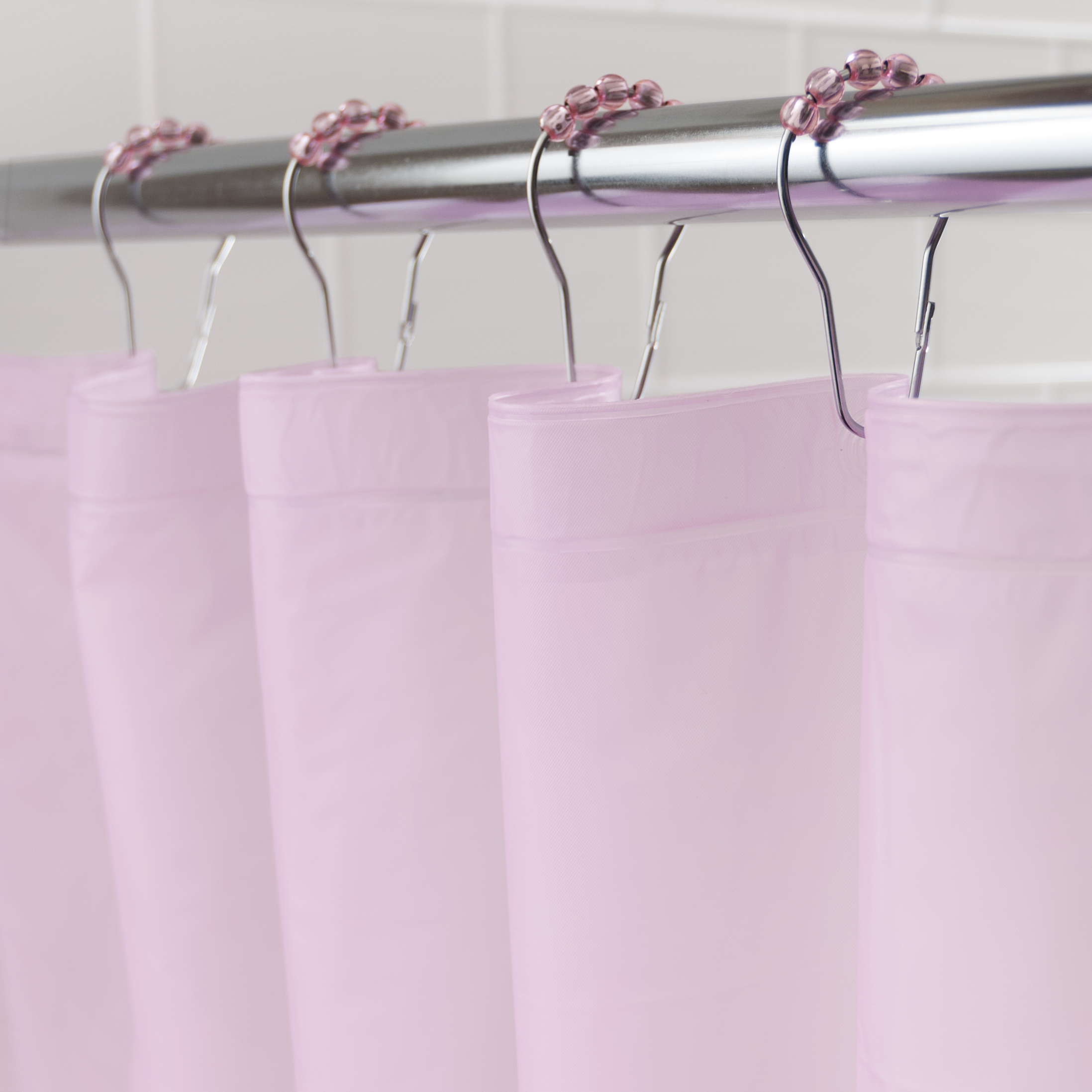 "Kenney Medium Weight Mildew-Resistant PEVA Shower Curtain Liner and Beaded Roller Ring Set, 70"" W x 72"" H, Pink"