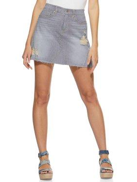 Scoop Women's Striped Denim Mini Skirt