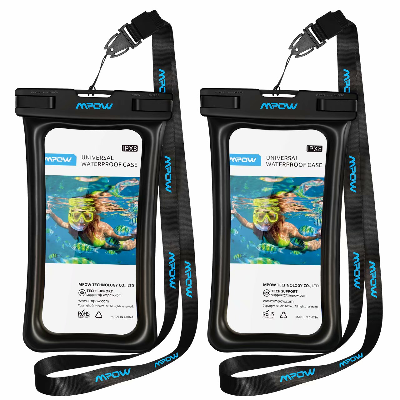 """Mpow 2 Pack Floatable IPX8 Universal Waterproof Case, Dry Bag Cellphone Pouch for iPhone Xs Max/Xr/X/8/8plus/7/7plus Galaxy s9/s8 Note 9/8 Google Pixel up to 6.5"""" (Black)"""