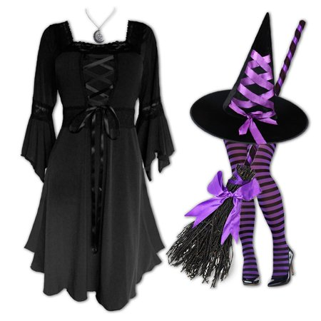 Plus and Regular Size Women's Halloween Witch Costume with Renaissance Dress, Hat and Tights - Plus Size Renaissance Halloween Costumes