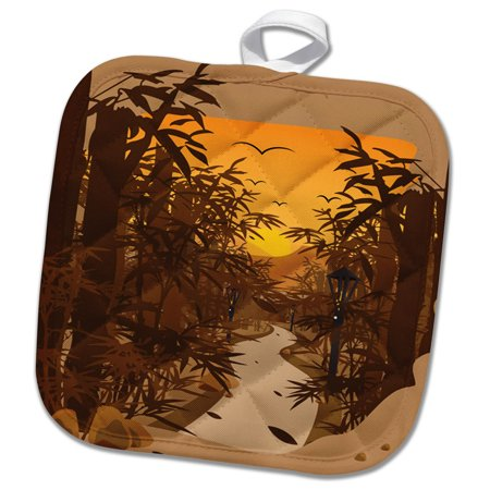 3dRose Asia Forest with Bamboo and Sunset in the Background - Pot Holder, 8 by 8-inch