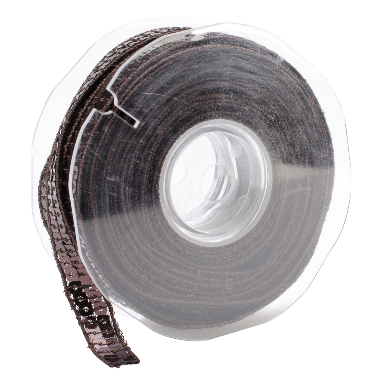 Square Sequin Trim 10mm X 15.95 Yards-Dark Brown