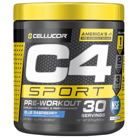Cellucor C4 Sport Pre Workout Powder, Energy Drink with Creatine Monohydrate & Beta Alanine, Blue Raspberry, 30
