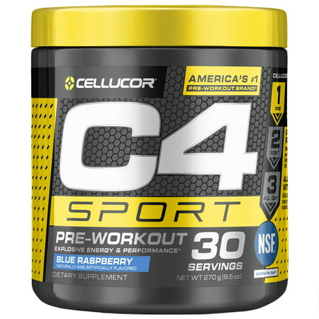 Cellucor C4 Sport Pre Workout Powder, Energy Drink with Creatine Monohydrate & Beta Alanine, Blue Raspberry, 30 (Best Vasodilator Pre Workout)