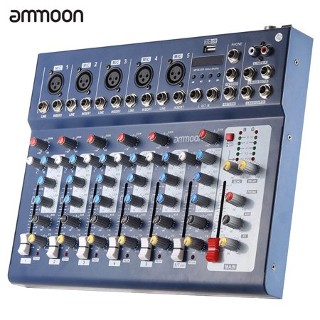 - ammoon F7-USB 7-Channel Digital Mic Line Audio Sound Mixer Mixing Console with USB Input 48V Phantom Power 3 Bands Equalizer for Recording DJ Stage Karaoke Music Appreciation