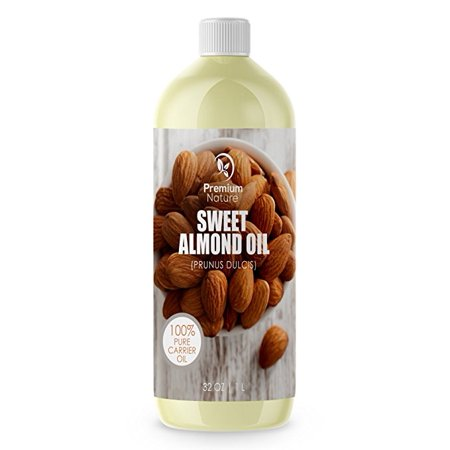 Sweet Almond Oil Best Carrier Oil - 32 oz 100% Natural Pure for Skin & Hair - Cleansing Properties Evens Skin Tone Treats Irritated Skin Nourishes Moisturizes & Prevents Aging Premium