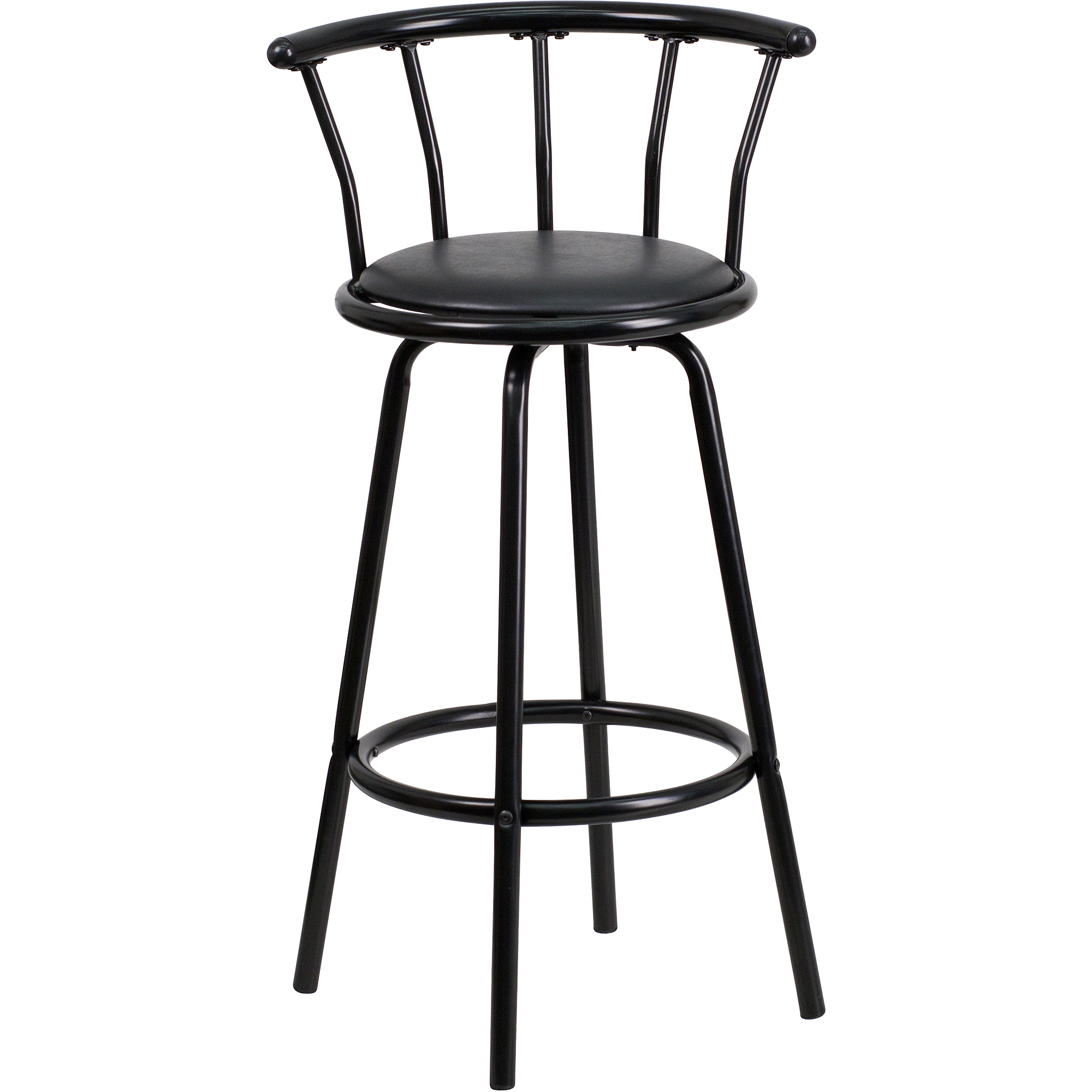 Flash Furniture Crown Back Black Metal Bar Stool With Vinyl Swivel Seat