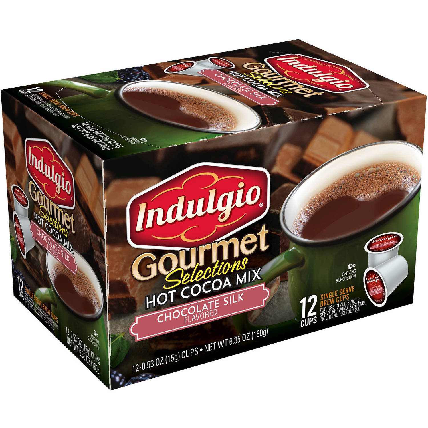 Indulgio Gourmet Selections Chocolate Silk Hot Cocoa Mix K-Cups, 0.53 oz, 12 count by Trilliant Food