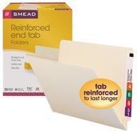 Smead Reinforced End Tab Folder, Manila, Letter Size, 100/Box (24110)