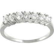 Sterling Seven-Round-Cut Cubic Zirconia Engagement Ring