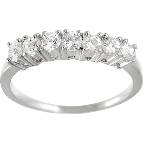 Alexandria Collection Sterling Seven-Round-Cut Cubic Zirconia Engagement Ring