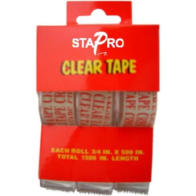 Bulk Buys 3 Piece Clear Tapes in Individual Dispenser - Case of 72