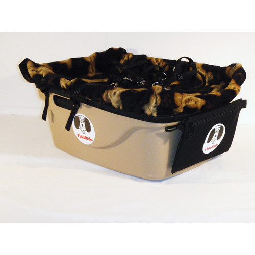 FidoRido Products FRT2BLB-ML Tan Two-Seater with Fleece in Black with Tan Dog Bones and A Medium Harness and A Large Harness