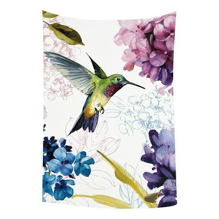 GCKG Hummingbird Painting Bedroom Living Room Art Wall Hanging Tapestry Size 90x60 -