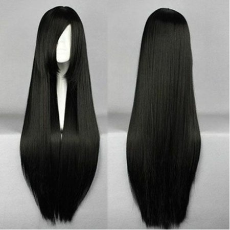 80cm Long Straight Hair Cosplay Wig heat resistant For Women Full Wigs](Long Straight Black Wig)