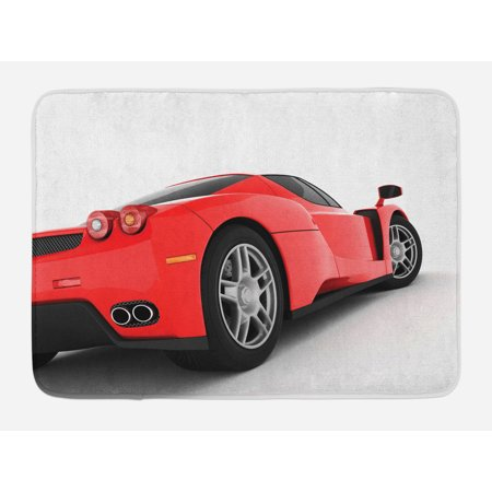 Manly Bath Mat, Red Super Sports Car Lifestyle Automobile Transport Modern Urban City Life Theme, Non-Slip Plush Mat Bathroom Kitchen Laundry Room Decor, 29.5 X 17.5 Inches, Red White Black, Ambesonne (Car Themed Decor)