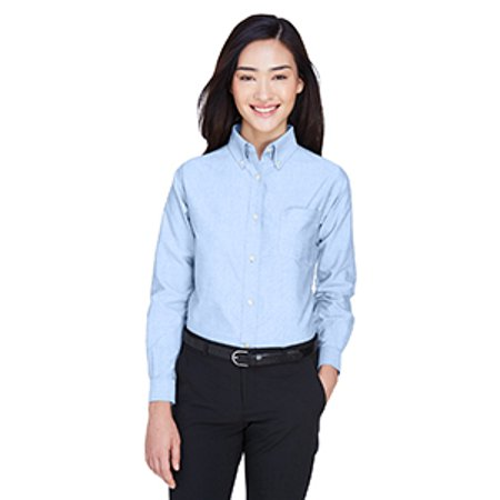 Classic Cotton Oxford Shirt - UltraClub Ladies' Classic Wrinkle-Resistant Long-Sleeve Oxford 8990