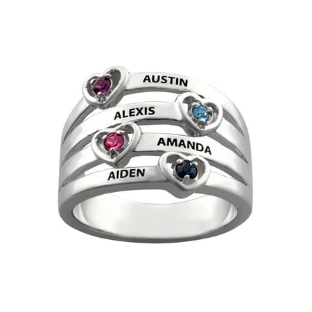 Birthstone Stack Rings (Personalized Mother's Rhodium-Plated or Gold-Plated Birthstone and Name with Heart Stack)