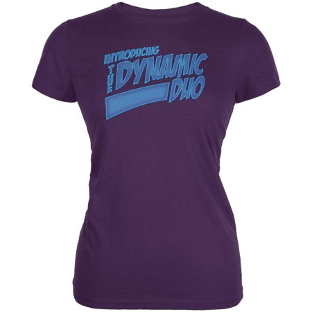 Dynamic Duo Funny Comic Book Purple Juniors Soft T-Shirt - Dynamic Duos Couples