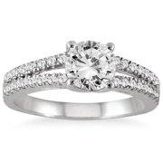 Marquee Jewels  14k White Gold 1 1/3ct TDW Double Row Diamond Engagement Ring