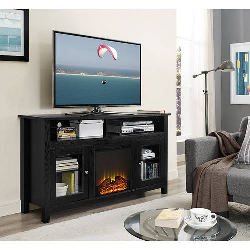 """58"""" Wood Highboy Fireplace TV Stand for TVs up to 60"""", Multiple Finishes"""