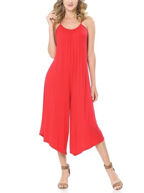 SSOULM Women's Pleated Spaghetti Strap Wide Leg Palazzo Capri Jumpsuit with Plus Size