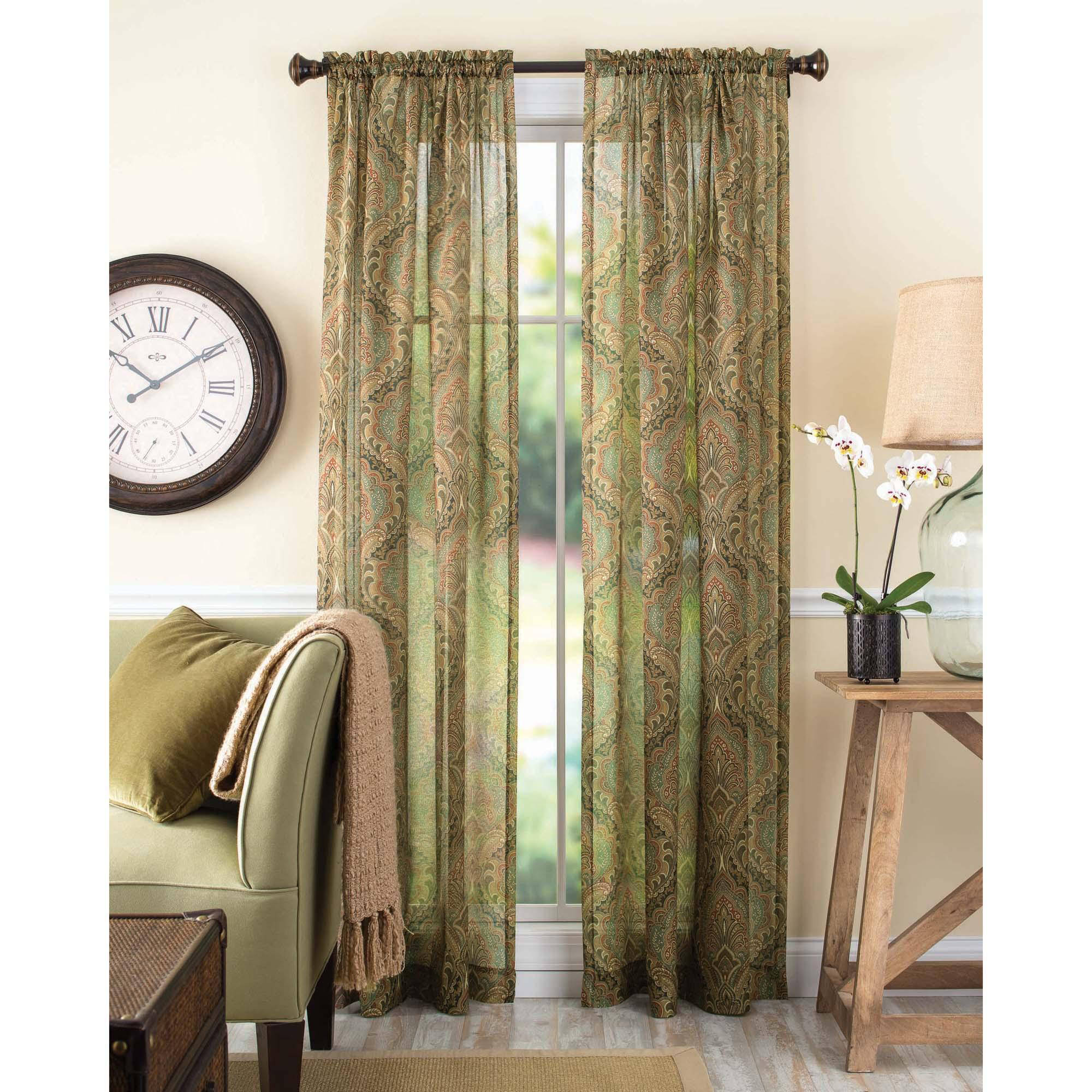 Better Homes and Gardens Tapestry Sheer Curtain Panel Walmart com. Walmart Sheers Curtains