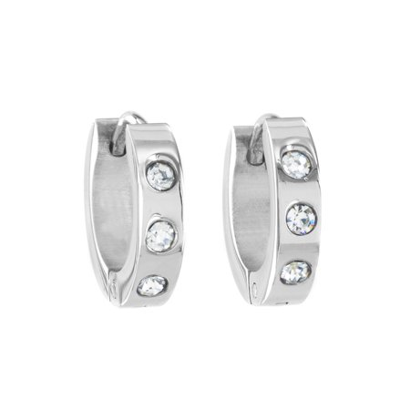 Stainless Steel Cubic Zirconia 13.5mm Cuff Hoop Earrings