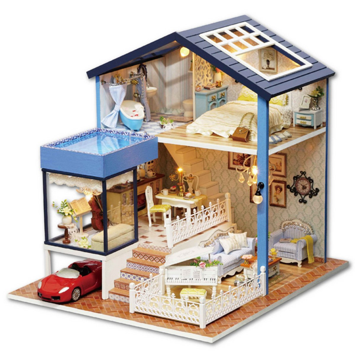 DIY Seattle Cottage Dollhouse Miniature Kit Dolls House With Furniture Gift Fashion Accessories Learning Toy