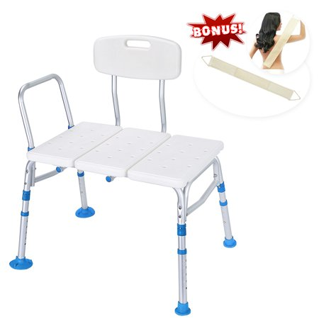 Latest Version! Tool-Free 400 lbs Transfer Bench, Adjustable Shower Tub Bath Chair w/Reversible Back and Non-Slip Feet for Elderly, Disabled, Seniors & Bariatric - Free Loofah Back (Best Telephone For Elderly)