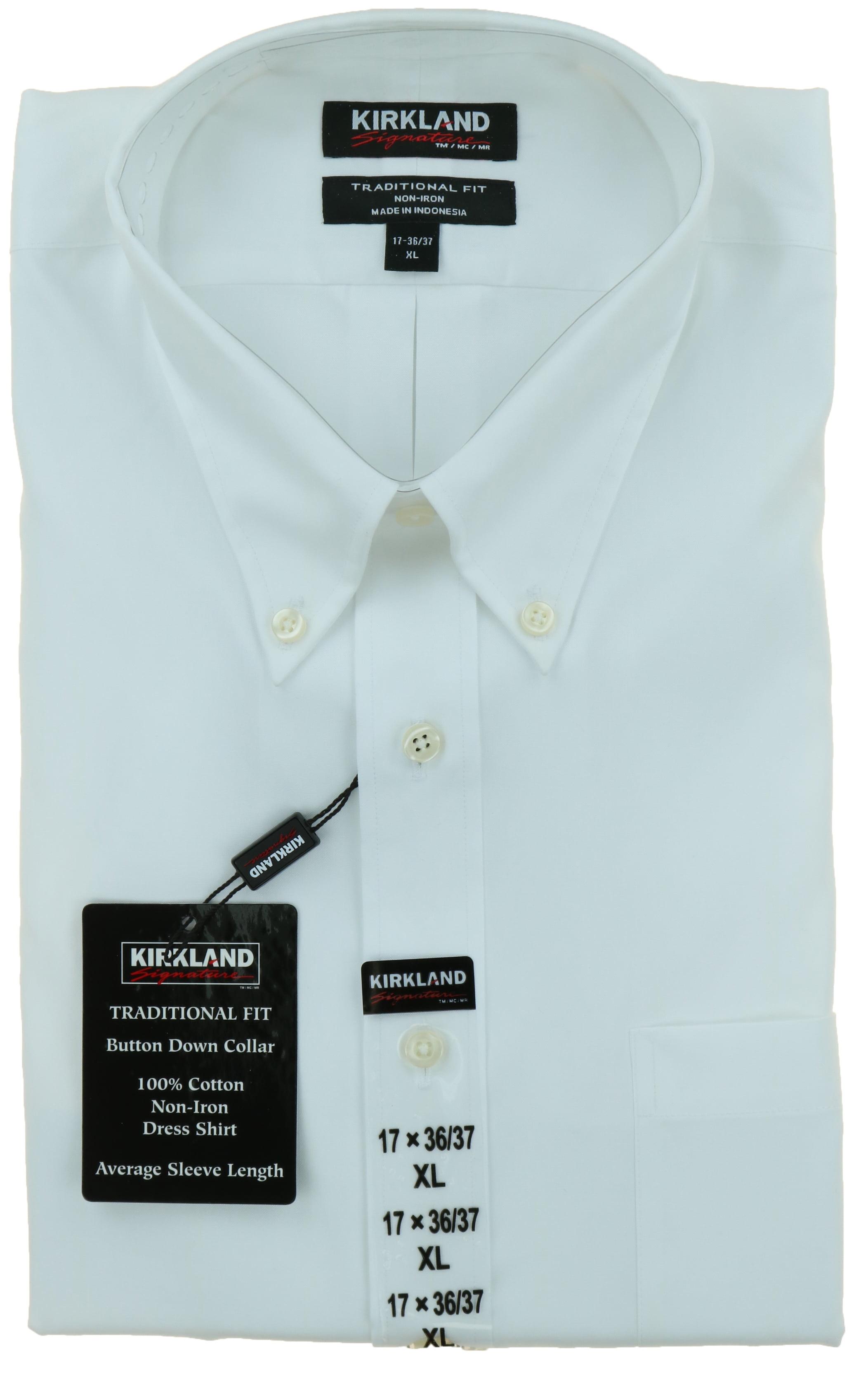 XL,17 32//33 Kirkland Signature Men/'s Traditional Fit Long Sleeve Dress Shirt