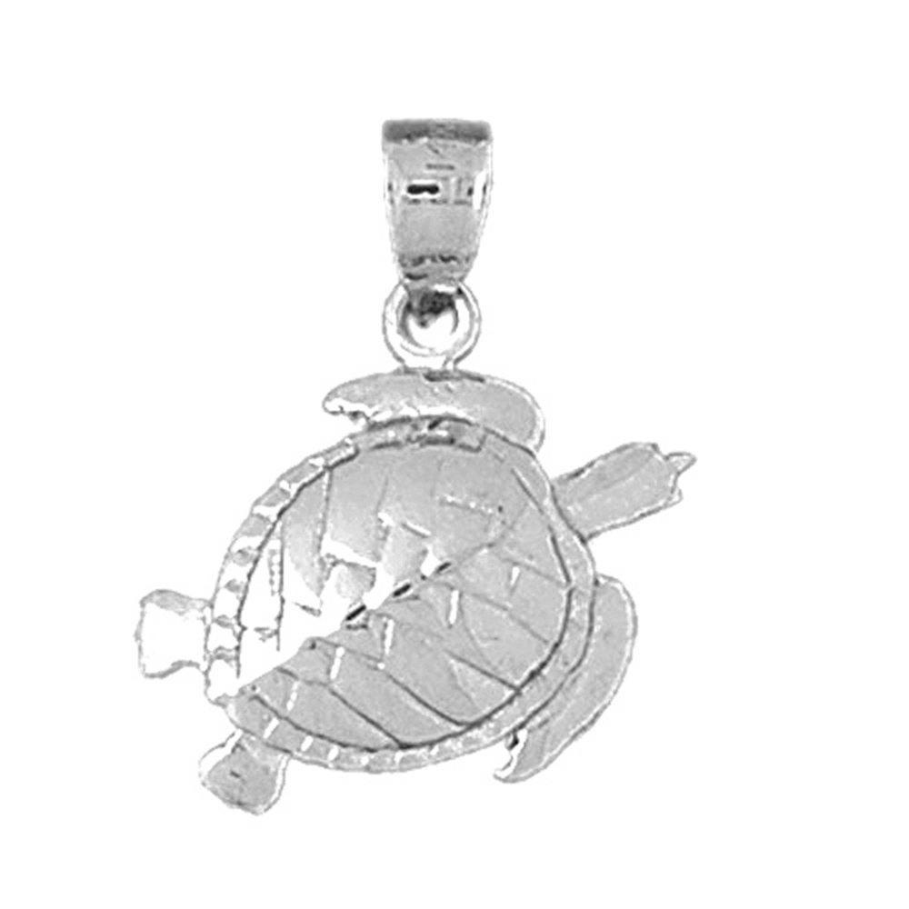 Sterling Silver Turtles Pendant - 26 mm (Approx. 1.87 grams)