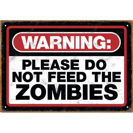 Zombie Warning Tin Sign, Measures 8 x 11.5 By Aquarius (Tin Measures)
