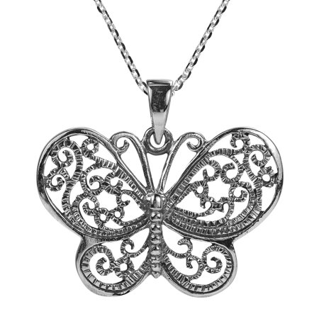 Filigree Swirl Magical Butterfly Sterling Silver Necklace