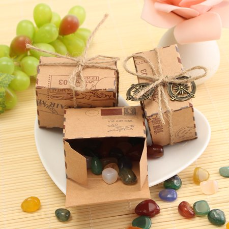 50Pcs Cute Kraft Paper sugarbox Pillow favor Box Wedding Party Favour Gift Candy Boxes