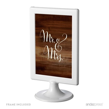 Mr. & Mrs. Framed Rustic Wood Wedding Party Signs