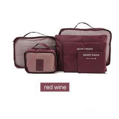 iMeshbean 6PCS Waterproof Clothes Travel Storage Bags Packing Cube Luggage  Organizer Pouch Wine Red - Walmart.com c8bb063610e38