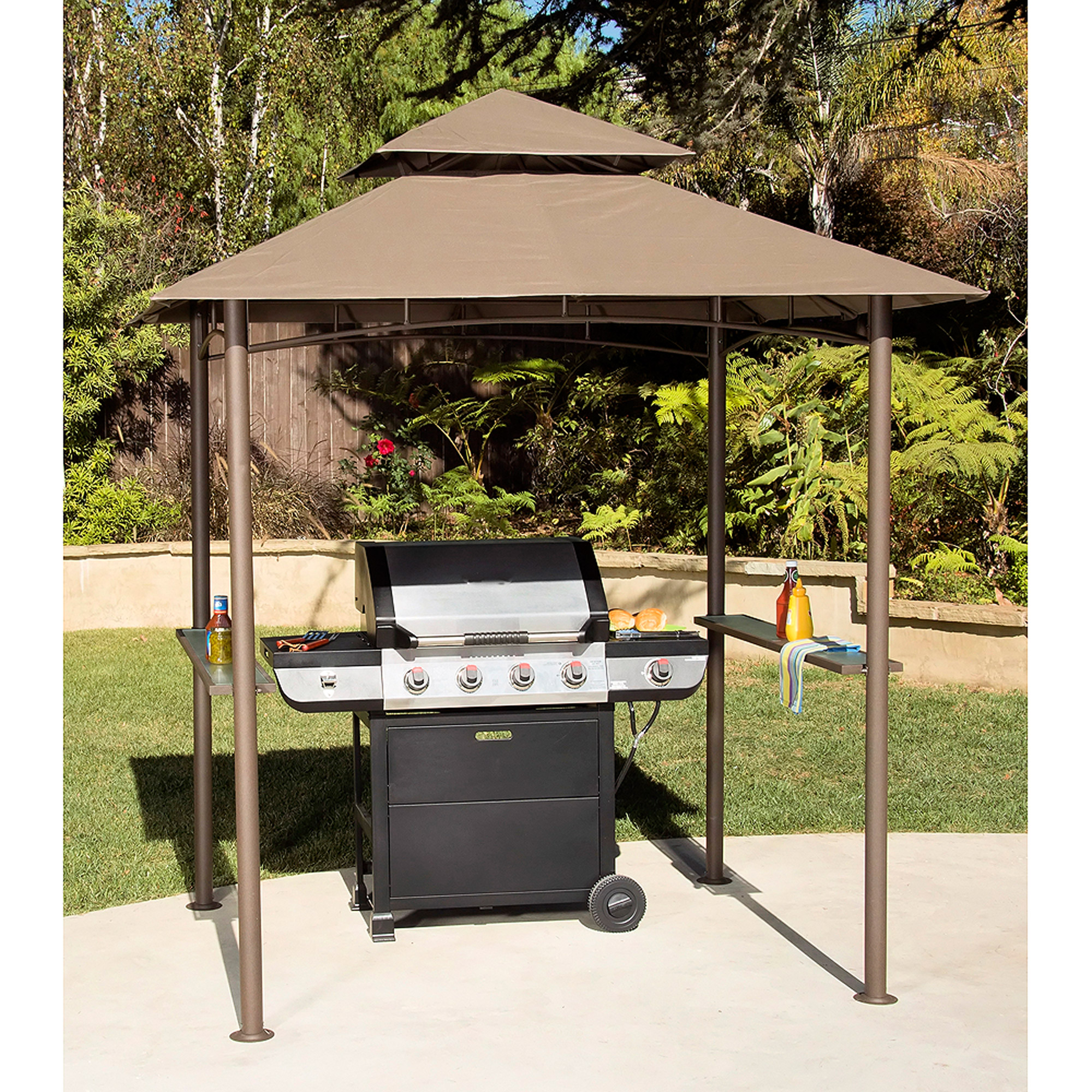 Double Roof Grill Shelter Gazebo ... & Double Roof Grill Shelter Gazebo 8u0027 x 5u0027 - Walmart.com