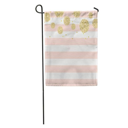 POGLIP Colorful Dot Modern Chic Pink Gold Stripe Pastel Polka Pattern Garden Flag Decorative Flag House Banner 28x40 inch - image 1 de 2