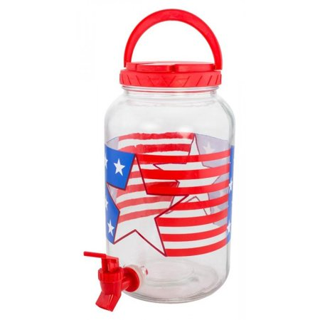 Glass Lemonade - Patriotic Beverage Dispenser Glass Lemonade Tea Holds Patriotic Red White Blue Party BESTChoiceForYou