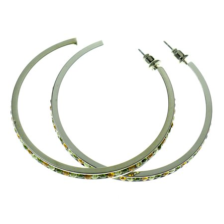 Large Silver-Tone Hoop Earrings With Multi-Color Faceted Crystal Accents ()