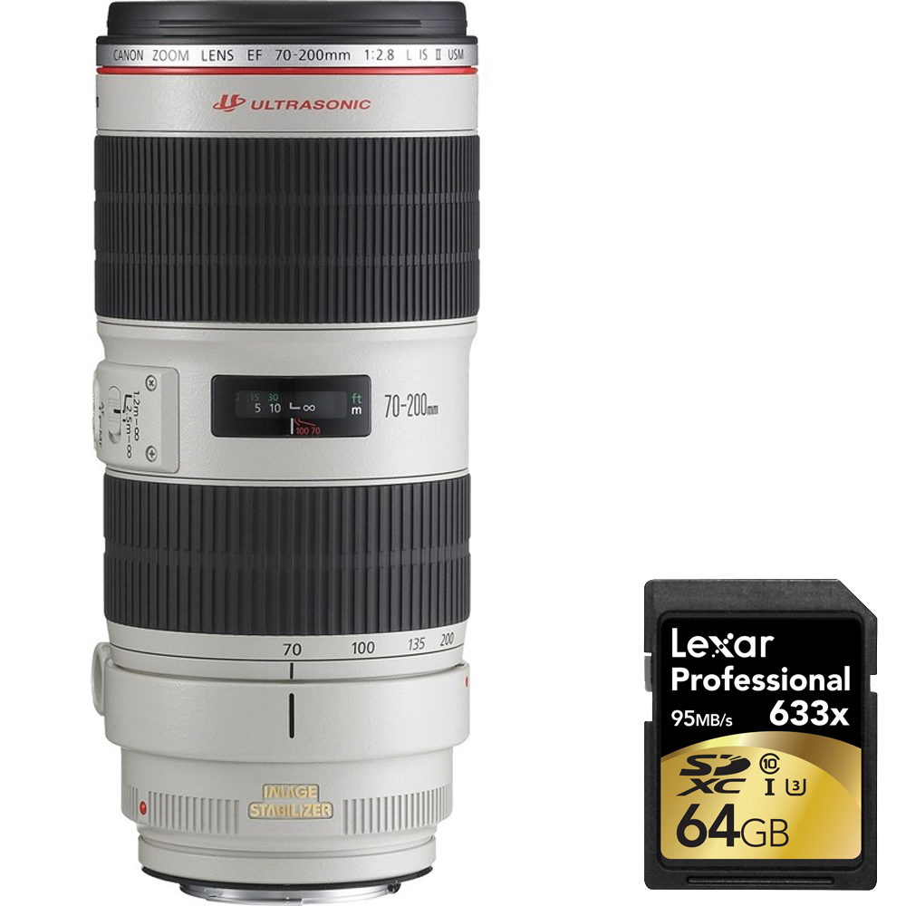Canon EF 70-200mm f/2.8L IS II USM Telephoto Zoom Lens for Canon SLR Cameras (2751B002) with 64GB Professional 633x SDXC Class 10 UHS-I/U3 Memory Card Up to 95 Mb/s