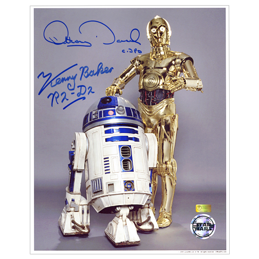 Kenny Baker and Anthony Daniels Autographed Star Wars 8x10 R2-D2 and C-3PO Studio Photo