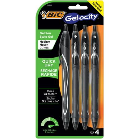 BIC Gelocity Quick Dry Retractable Gel Pen, Medium Point (0.7 mm), Black, 4-Count 0.7 Mm Black Pens