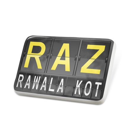 Porcelein Pin Raz Airport Code For Rawala Kot Lapel Badge   Neonblond