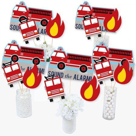Fired Up Fire Truck - Firefighter Firetruck Baby Shower or Birthday Party Centerpiece Sticks - Table Toppers - Set of 15](Black And White Table Centerpiece Ideas)