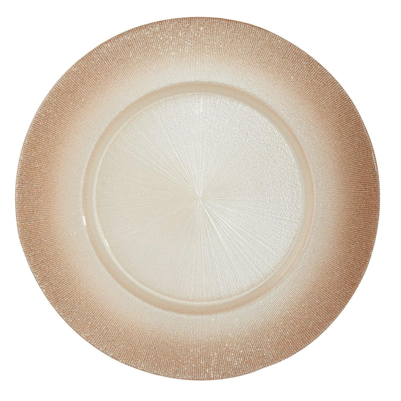 Rose Gold w/Glitter Edge 13 inch Plate, Set of 4